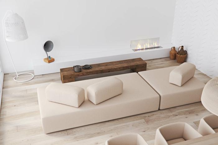 decoración de salones modernos pequeños en estilo minimalista, muebles modernos en beige, banco de madera y suelo de parquet