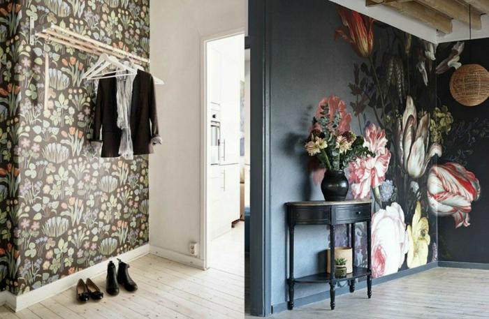 preciosas propuestas de muebles entrada, papel pintado con estampado de flores, estanterías y percheros funcionales