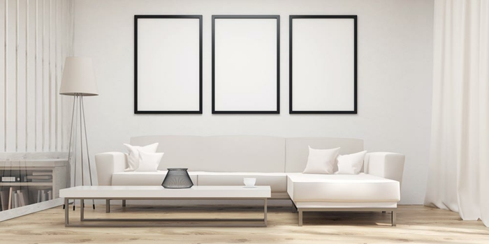 decoración en estilo minimalista con muebles en beige, salones modernos pequeños con cuadros decorativos originales