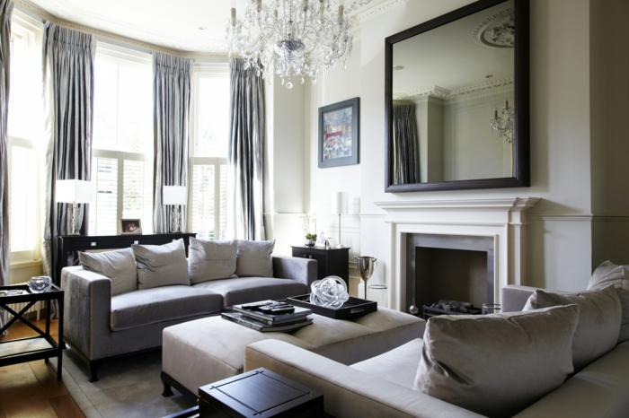 grande espejo en forma cuadrada, espejos salon en estilo vintage, salón decorado en gris y beige, cortinas de satín