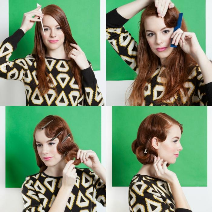 ideas sobre como ondular el pelo según el estilo de los años 20, ondas al agua paso a paso, cabello largo pelirrojo