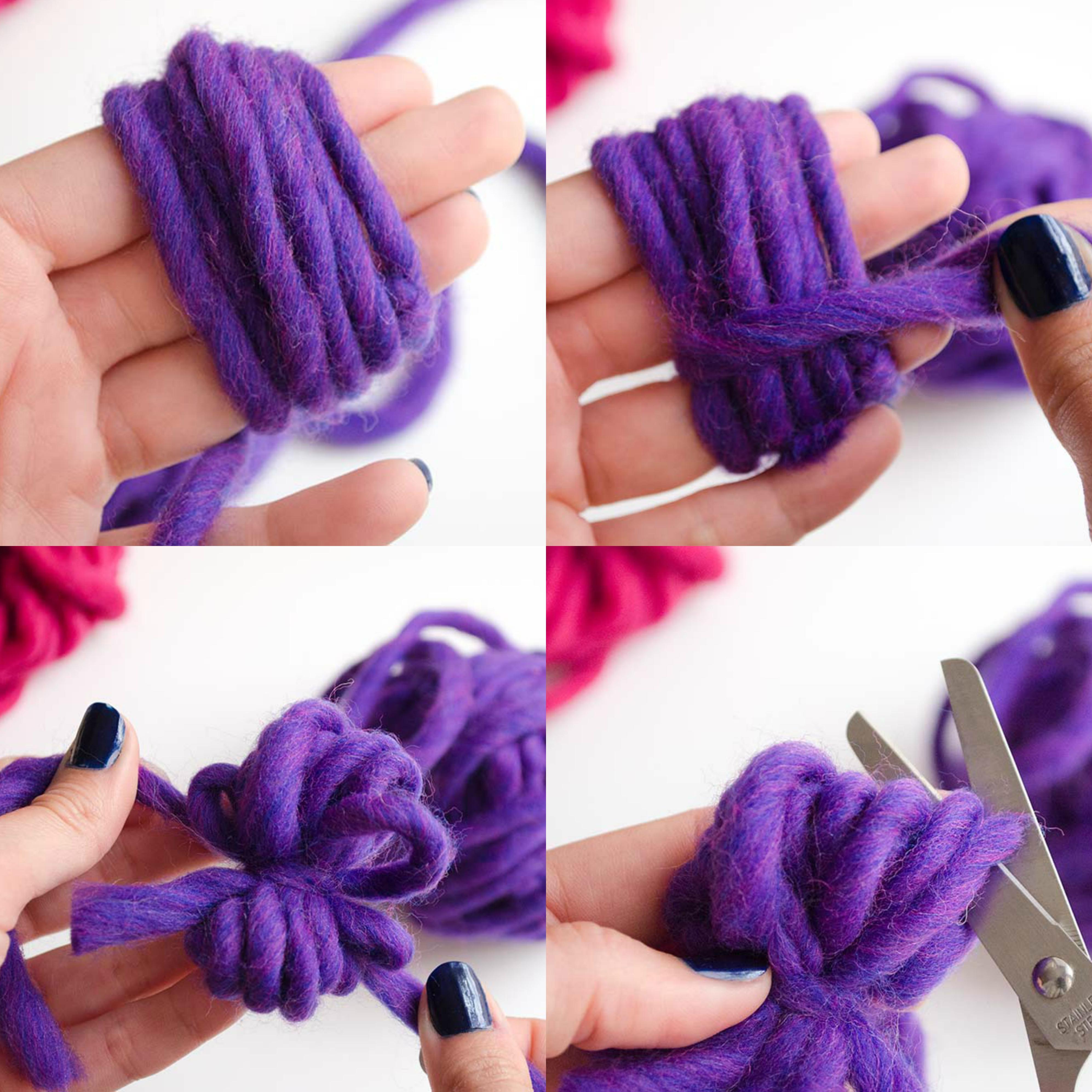 diferentes métodos para hacer un pompon de lana en color lila, como hacer pompones con lana, ideas faciles para niños y adultos,