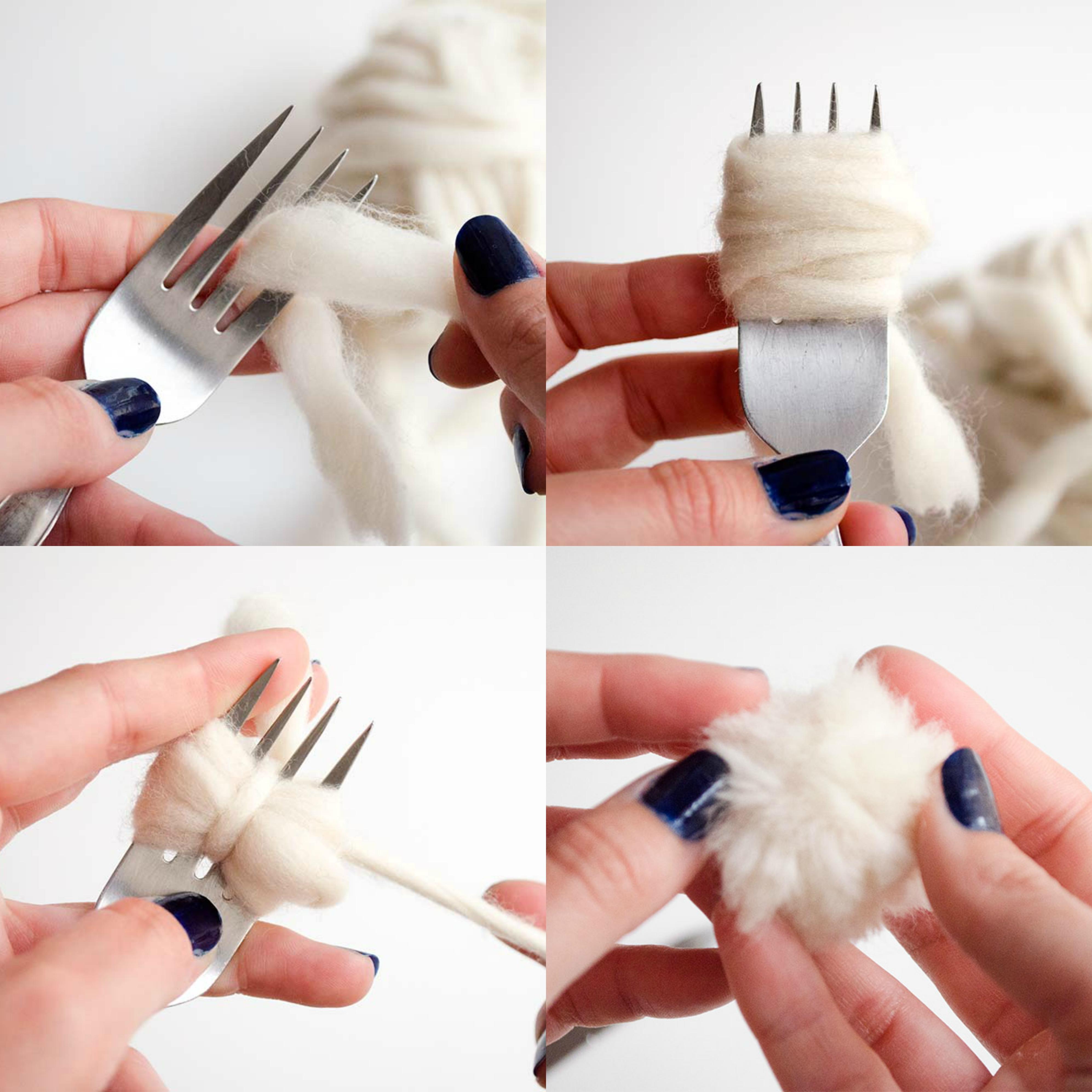 manualidades con lana, pasos para hacer un pompón de lana con un tenedor, alfombra de pompones paso a paso