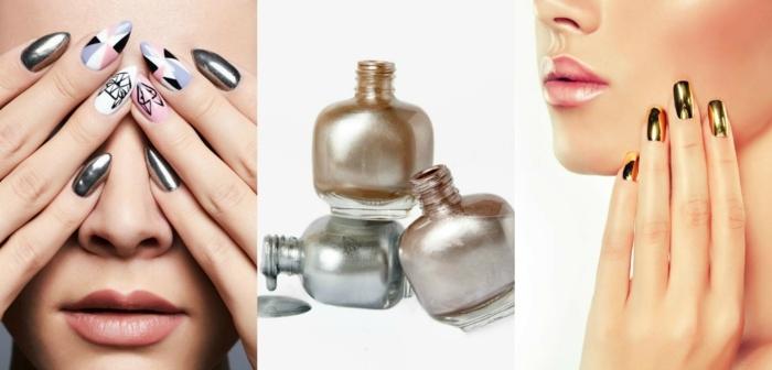 ideas decoracion de uñas, la tendencia de los tonos metálicos en las uñas sigue en vigor, tres propuestasa en color cobre, plata y dorado