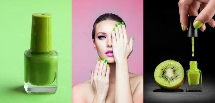 ideas uñas decoradas diseños actuales, el verde kiwi es uno de los colores del año, uñas cortas pintadas en verde