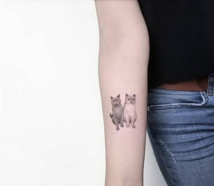 tatuaje con animales, mujer en jeans con tattoo de dos gatos en el antebrazo especie gato británico, tatuajes pequeños con significado