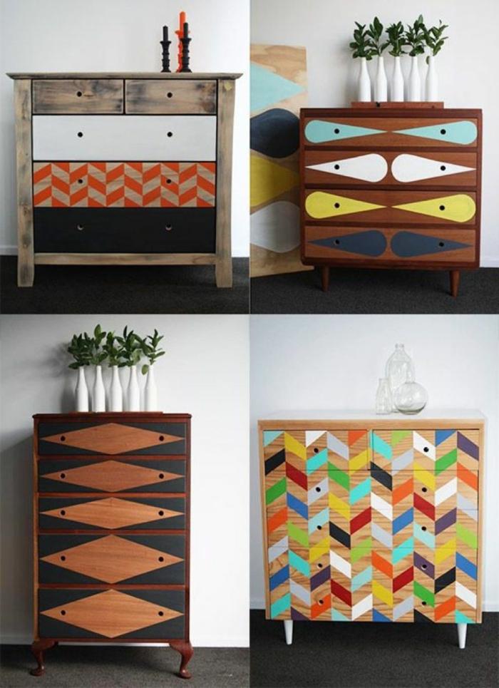 diferentes opciones para decorar un armario de madera pequeño, recibidor moderno con decoración DIY