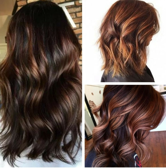 tres propuestas de cabellos castaños con mechas rubias o rojas, corte de pelo en bob y larga melena ondulada