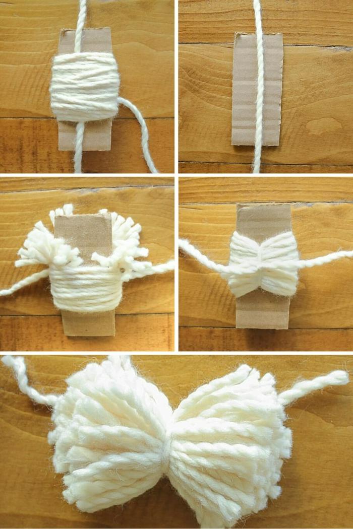 pasos básicos para hacer un pompon de hilo blanco, como hacer pompones con lana con un trozo de cartón e hilo blanco