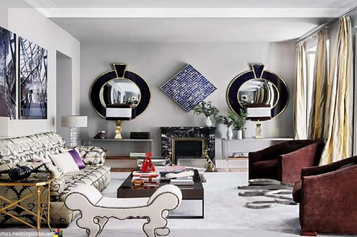 dos espejos salon en estilo vintage, salón grande decorado con muebles y objetos vintage, grandes cuadros decorativos