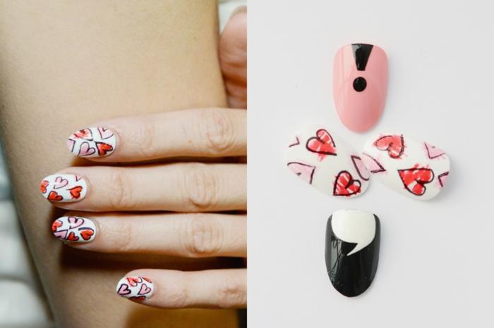 estampados de corazones en las uñas, tendencias en la manicura 2018, decoracion de uñas original y dvertida
