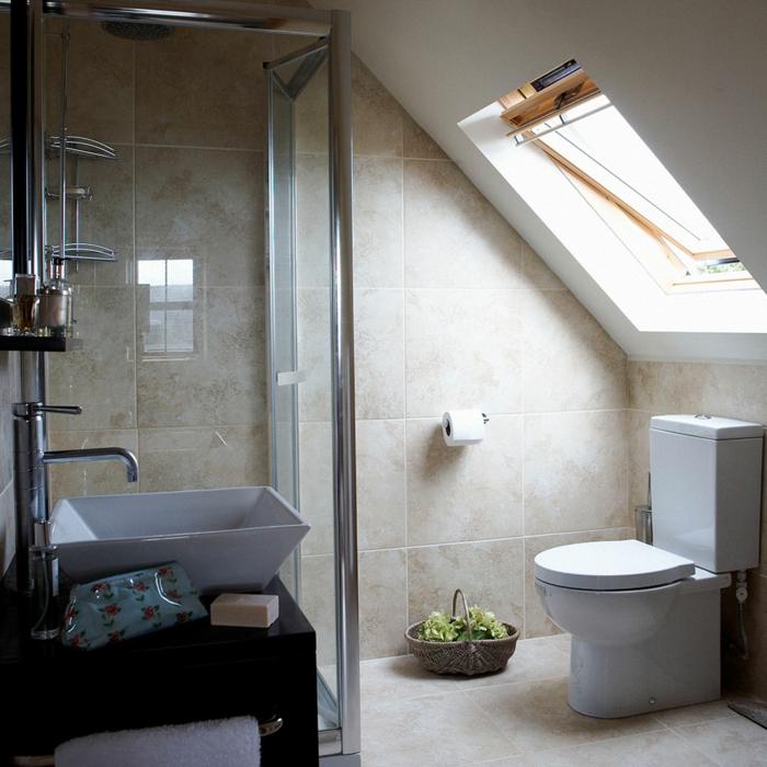 ventana en el tech inclinado, baño con vabina de ducha, baldosas color crema, baños pequeños modernos, canasta con plantas verdes