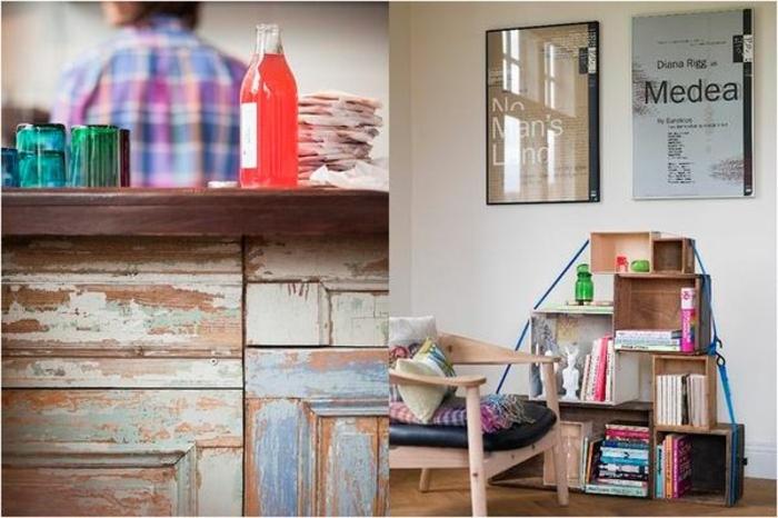 dos propuestas de muebles hechos de caja de madera, decoración original para tu casa, muebles con efecto desgastado