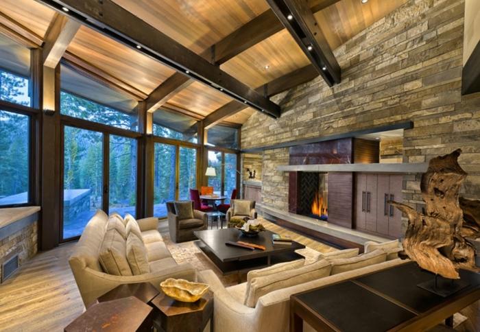 ambiente en estilo rustico, salon en colores calidos con toque hogareño, muebles comodos y modernos, ideas de cocinas abiertas