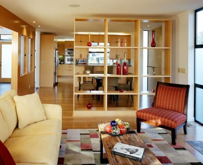 como amueblar las cocinas abiertas, muebles de madera en tonos cálidos y claros, revestimiento de parquet