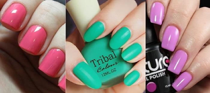 tonos en tendencia para las uñas, decoracion de uñas en un solo color con acabado brillante y mate, uñas en color salmón, verde y lila