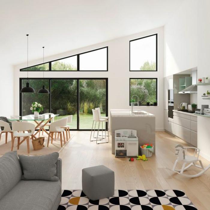 interesantes elementos arquitectónicos, salon, comedor y cocina en un solo espacio, decoracion en blanco y negro y grandes ventanales