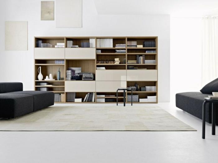 estantería grande para un salon en estilo minimalista, ideas de muebles de salon modernos de diseño