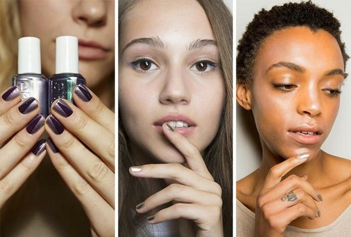 propuestas de manicura con acabado metálico, uñas de gel decoradas en dos colores, tendencias primavera