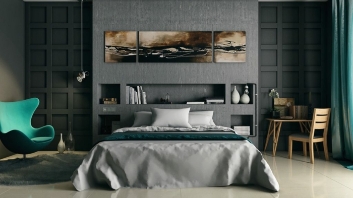 tonos oscuros con acentos en verde, dormitorios matrimonio, estilo moderno, paredes en gris oscuro con molduras, nichos, sillón y mesa pequeña de madera, suelo con baldosas