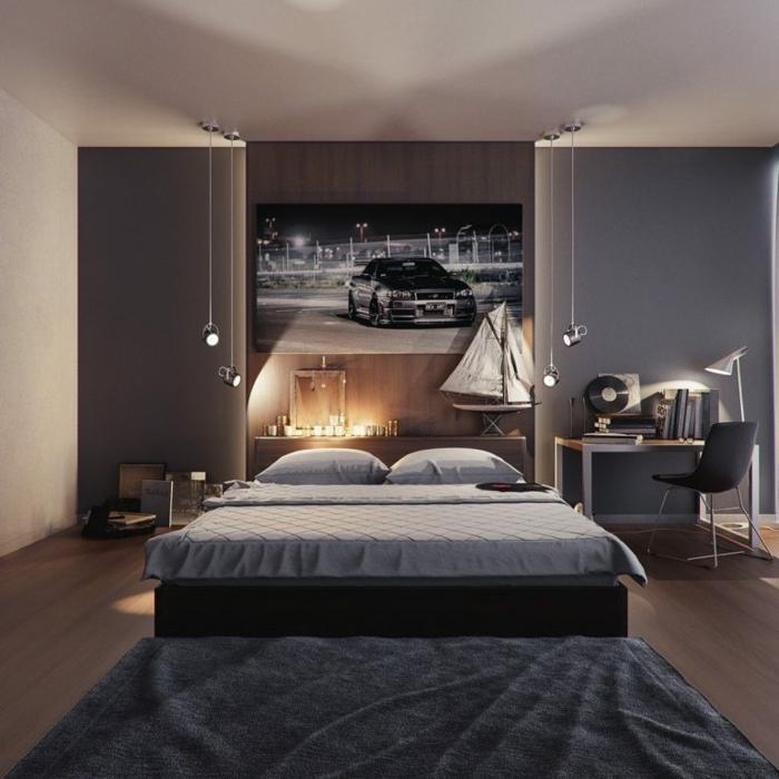 colores para habitaciones, dormitorio en gris y marron, cama doble, escritorio, foto de coche deportivo, suelo laminado, luz artificial, tapete