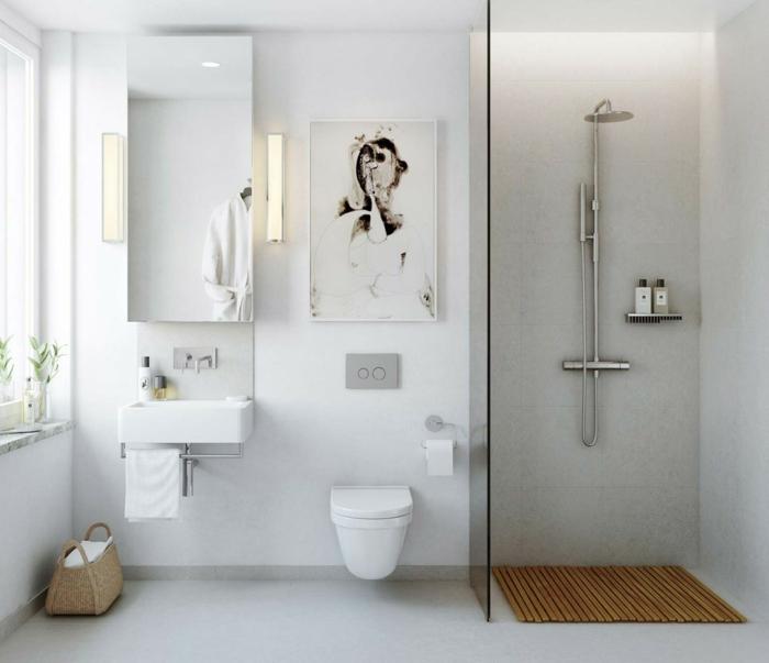 cuadros para baños, decoracion baño pequeño con mucha luz natural, lavabo pequeño con ducha de obra, cuadro abstracto, ideas baños pequeños