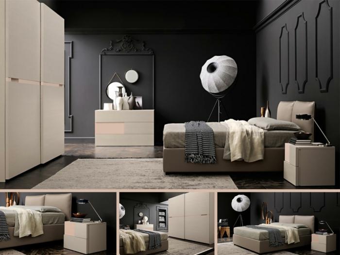 habitacion gris, dormitorio grande doble moderno, paredes en gris azabache con molduras, muebles beige, espejos redondos