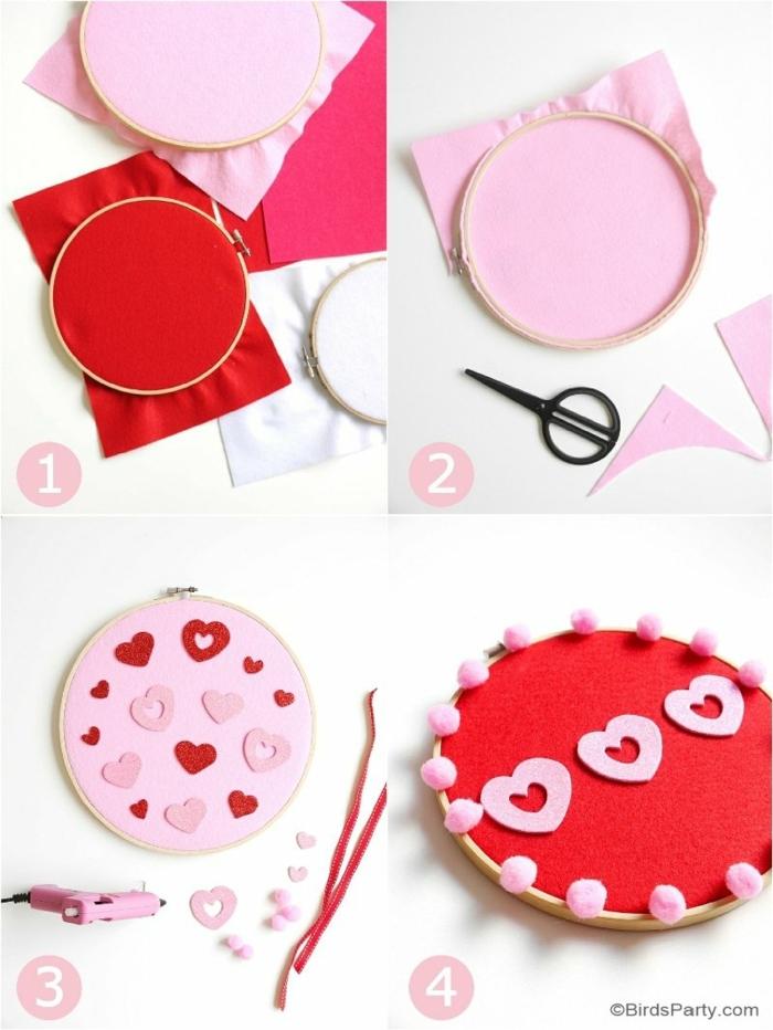 pasos para hacer un panel decorativo para la pared, manualidades fieltro de encanto, ideas para el día de los enamorados