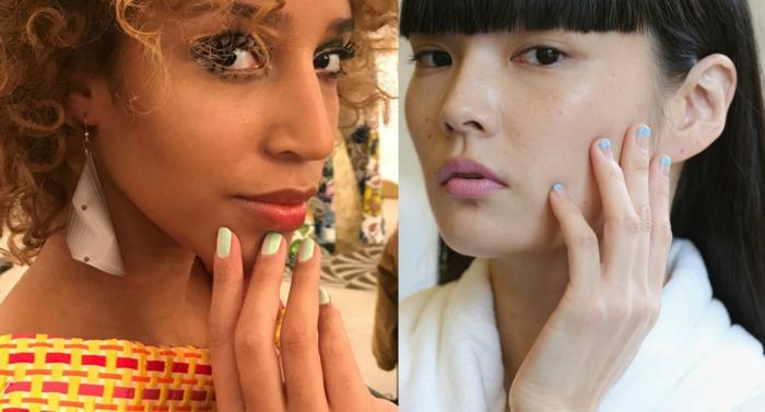 dos propuestas con uñas cortas pintadas en los colores modernos para 2018, uñas de gel decoradas en verde y azul