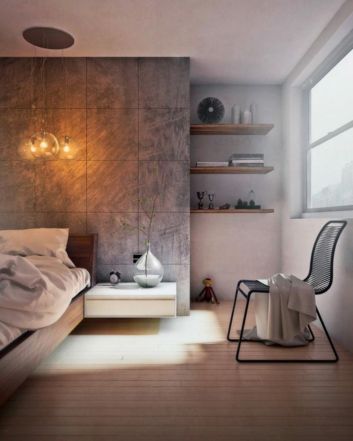colores para habitaciones, dormitorio moderno con tarima, panel de baldosas grises, pared con nichos y estantes de madera, silla, ventana grande