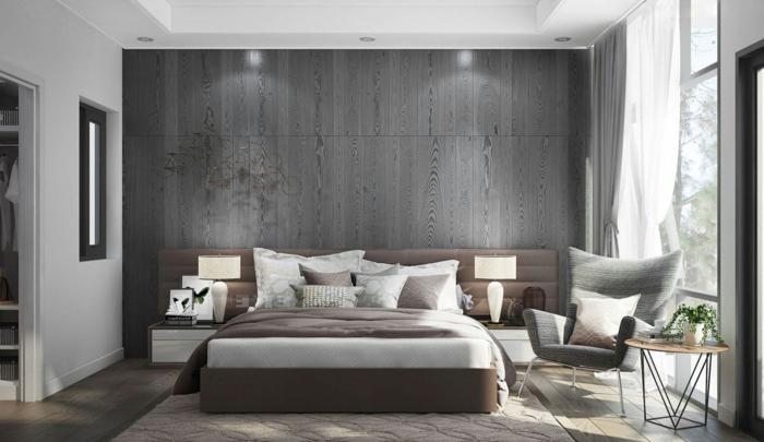 gris y marron, como decorar una habitacion, dormitorio matrimonio con cama doble y sillon, ventanal, suelo laminado con alfombra