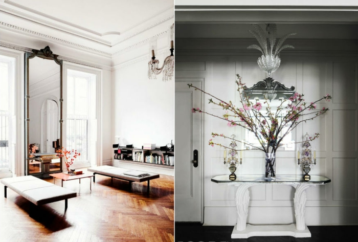 ejemplos de espejos decorativos de diferente forma y tamaño con marcos en estilo vintage, ideas para ampliar el espacio visualmente
