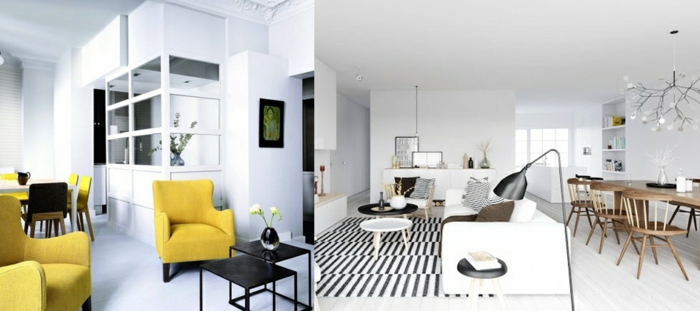 dos propuestas de decoracion salon en estilo minimalista, muebles de diseño color mostaza y salon comedor decorado en blanco y negro