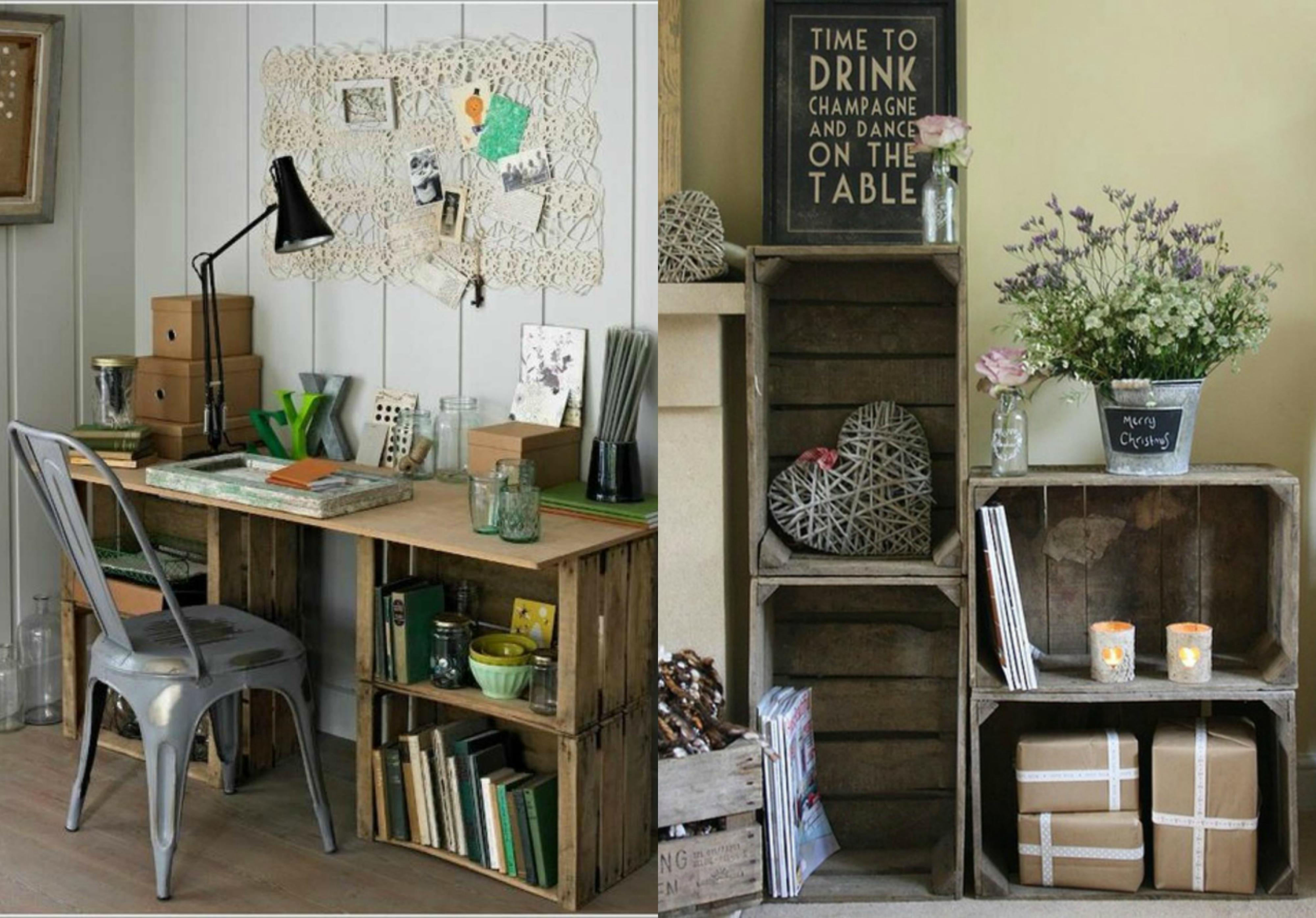 ejemplos de interiores en estilo vintage con muebles DIY hechos de cajas de fruta, decorar cajas de madera paso a paso