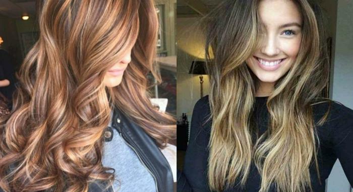 melenas fabulosas con mechas balayage, pelo largo en grandes rizos, mechones más claros en rojo y color oro
