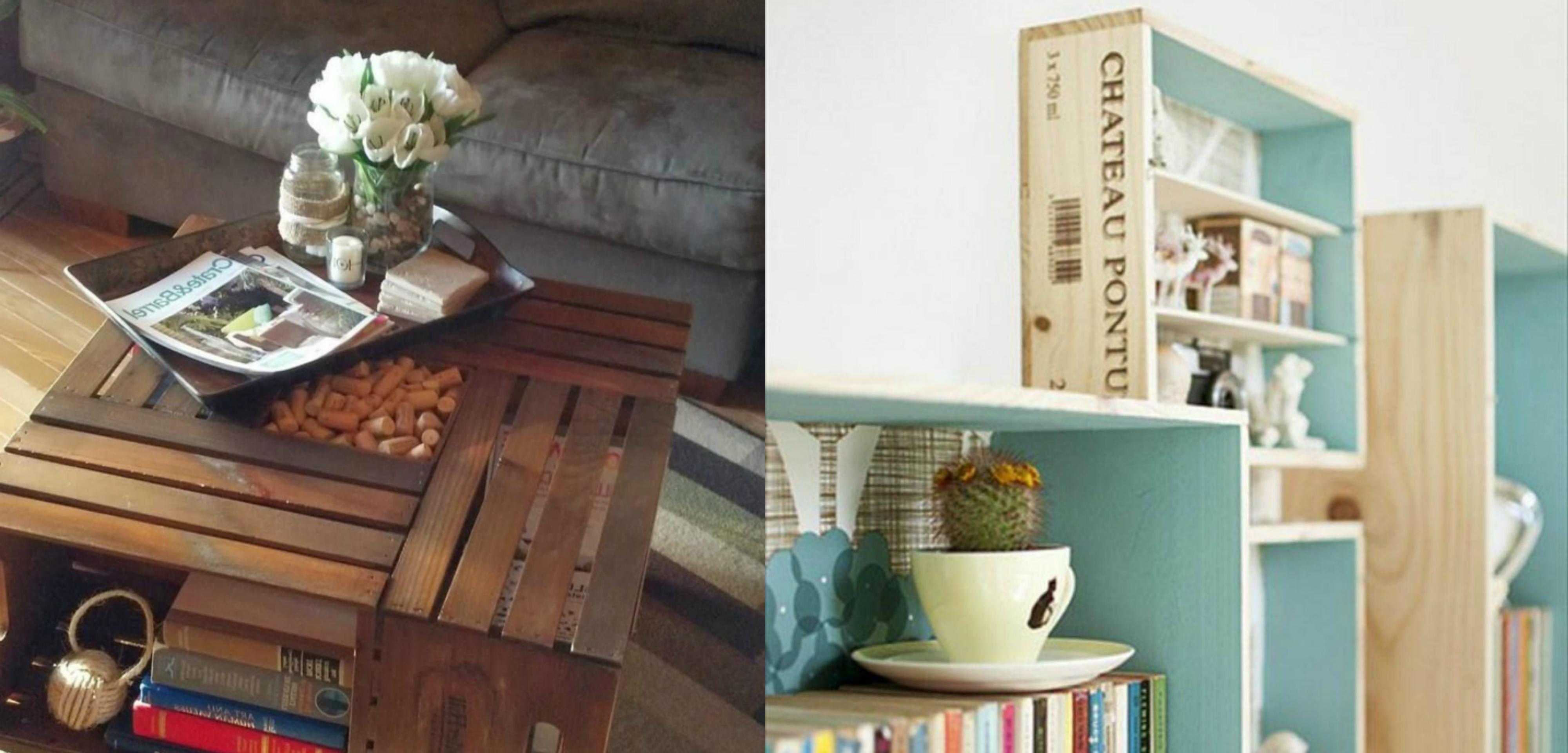 mesa y estantería hechos de cajas de fruta, como decorar cajas de madera, ideas inspiradoras para decorar el hogar