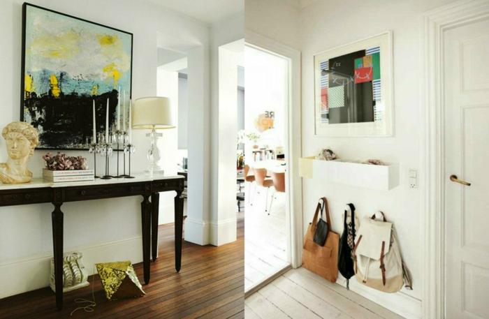 ideas para decorar el recibidor de una manera encantador, recibidores baratos con grandes pinturas en la pared como punto focal