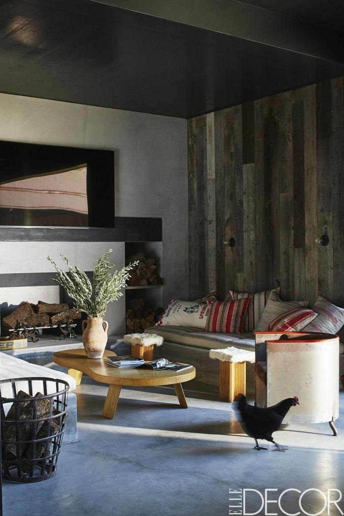 precioso salon con muebles modernos bajos, decoracion salon en estilo minimalista con toque rústico