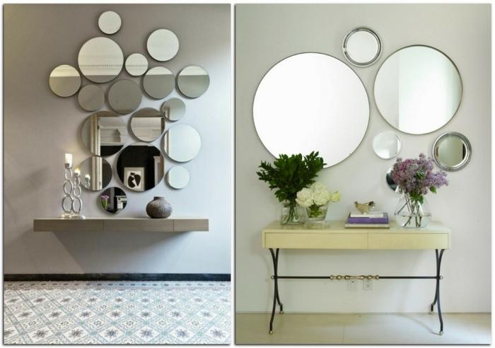 ideas con espejos redondos de diferente tamaño, recibidores de encanto con pequeñas mesas y decoración de flores