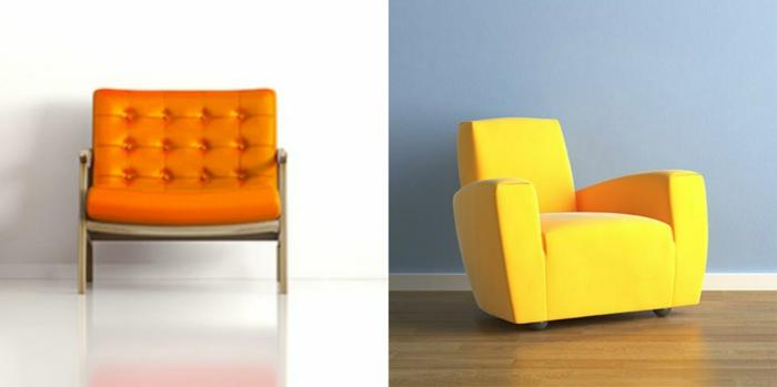 dos propuestas de muebles de diseño moderno ideales para decoracion salon en estilo minimalista, sillones en color naranja y amarillo