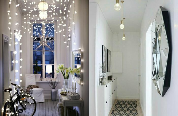 interiorres en blanco con mucha iluminación, muebles entrada funcionales y bonitos, espejo decorativo en forma de hexágono