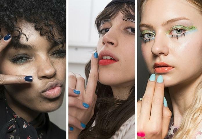 tres ejemplos de uñas de diseño sencillo en gel, uñas de gel decoradas en diferentes tonos del azul, uñas cortas de forma cuadrada