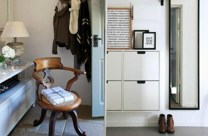 propuestas de recibidores originales decorados en colores claros, paredes en blanco, armarios funcionales y bonitos
