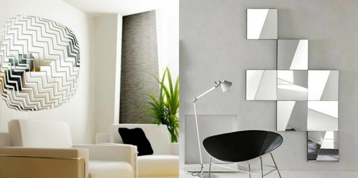 inteirores decorados con espejos plateados, propuestas originales, salones decorados en estilo minimalista