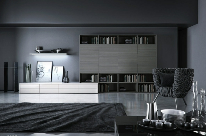 salon oscuro moderno, decoracion habitacion, suelo laminado, tonos grises, estanteria con puertas, silla moderno, mesa con cafetera y tazas