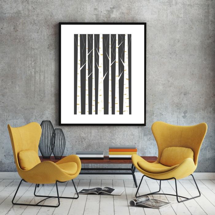 muebles estilo nordico, sillones tapizados en amarillo con patas de metal, cuadro de bosque abstracto en blanco y negro, pared gris, suelo de tarima, revistas