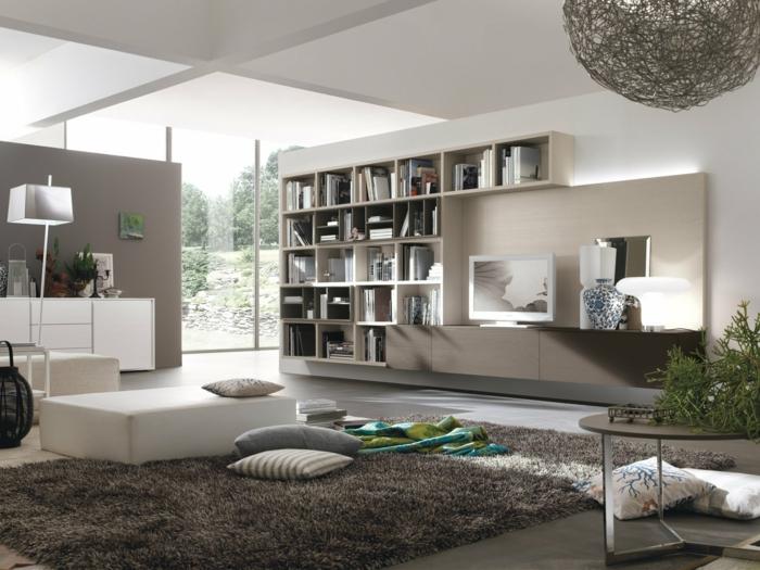 decoracion contemporanea, colores que combinan con gris, colores neutros, ventanales, librería grande, banco tapizado, alfombra peluda