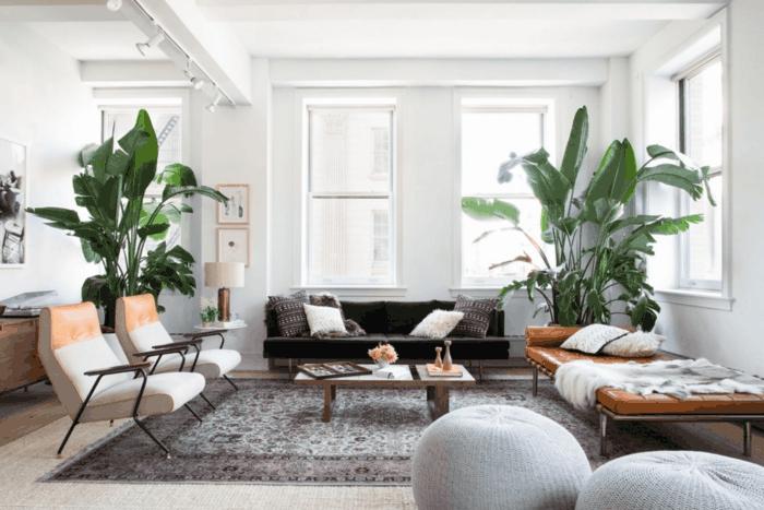 salón con palmeras decorativas grandes, decoracion estilo nordico, banco tapizado de cuero color cognac, alfombra persa, mesita baja, sillones y sofá con cojines, pufs de ganchillo