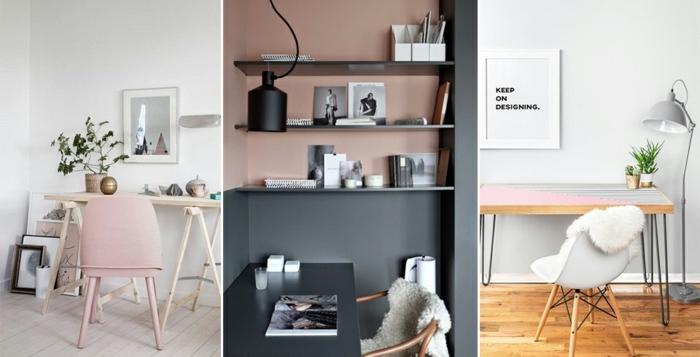 habitacion gris, tres propuestas de combinacion de gris con rosa, despachos en casa, estilo nórdico, madera clara
