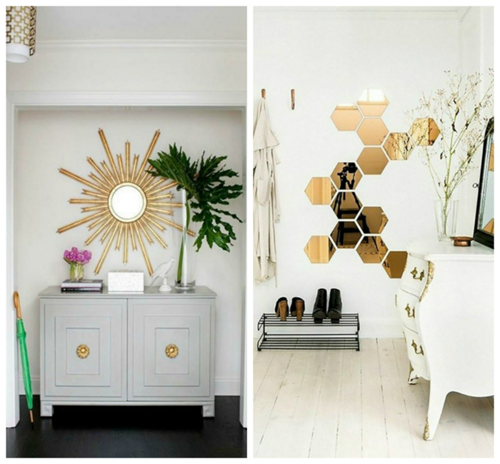 decoración con espejos, recibidores originales de tamaño pequeño, espejos vintage sol con marcos dorados